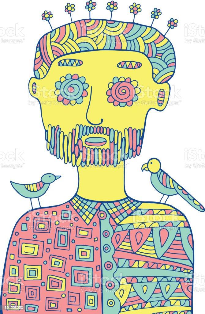 Hipstermann Mit Vögel Und Blumen Auf Dem Kopf Farbigen Malvorlagen