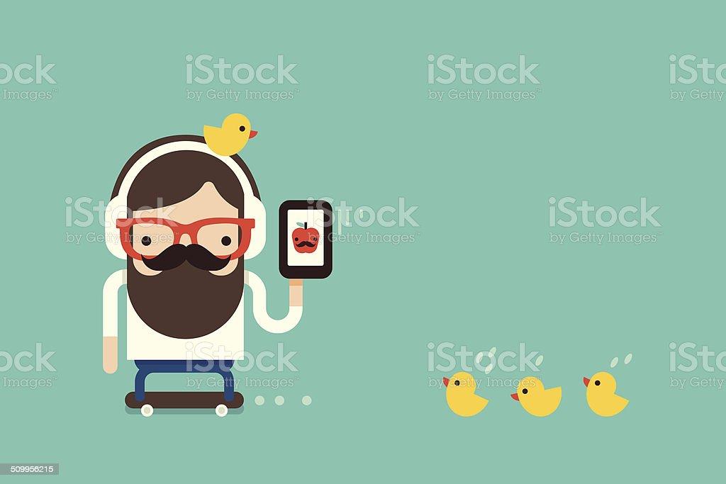 hipster  man with cellphone - Royaltyfri Aktivitet vektorgrafik