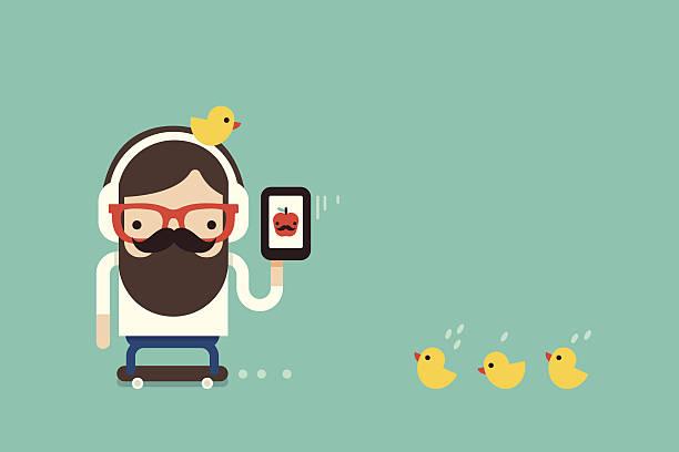 bildbanksillustrationer, clip art samt tecknat material och ikoner med hipster  man with cellphone - happy indie pop
