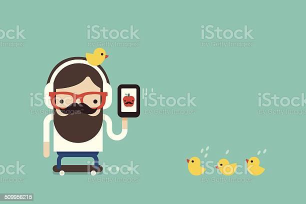 Hipster Man With Cellphone-vektorgrafik och fler bilder på Aktivitet