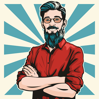 Hipster Man with Folded Arms