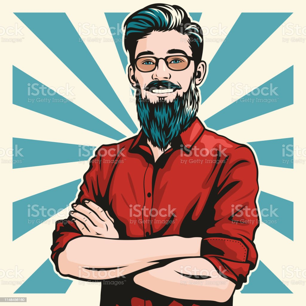 Hipster Man with Folded Arms vector art illustration