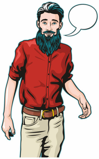 Hipster man with speech bubble vector art illustration