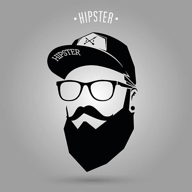 hipster mann kappe - mann bart freisteller stock-grafiken, -clipart, -cartoons und -symbole
