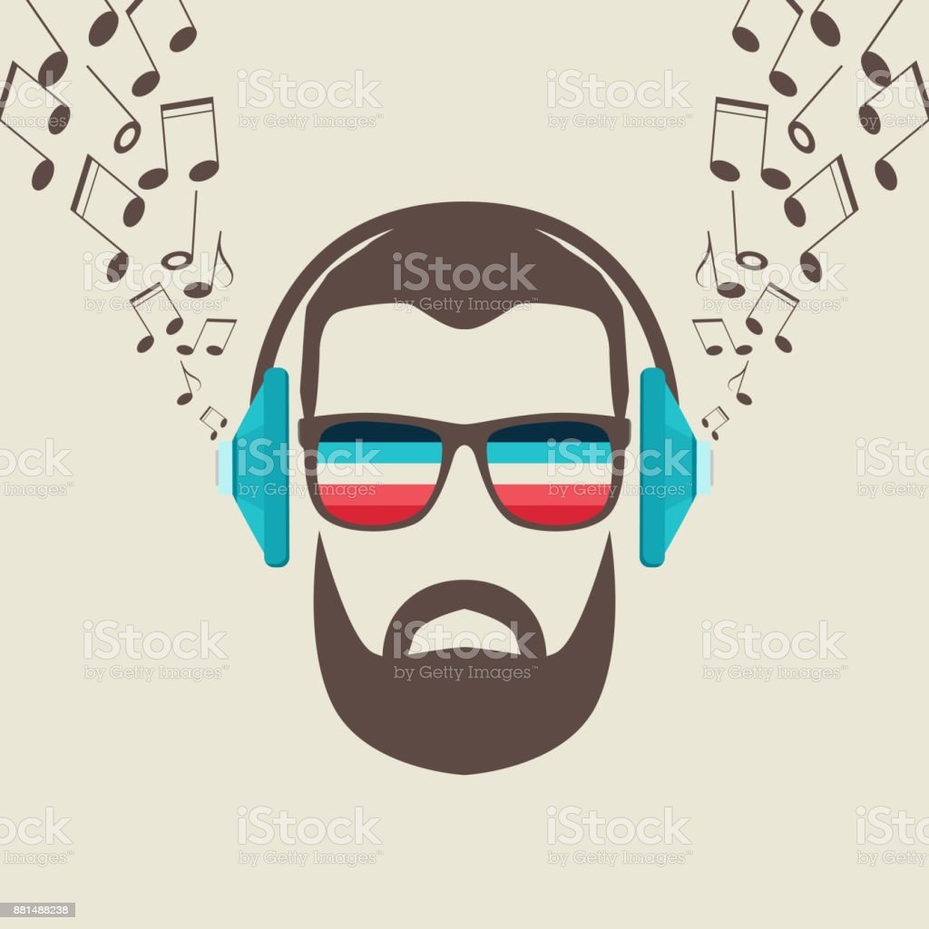 Hipster Men Face with Headphone, Retro Music Poster Illustartion. vector art illustration
