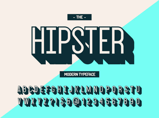 hipster modern typeface 3d style. cool font - hipster fashion stock illustrations, clip art, cartoons, & icons