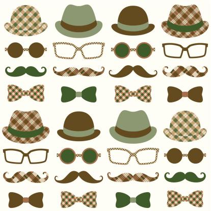 Hipster Moustache Retro Pattern