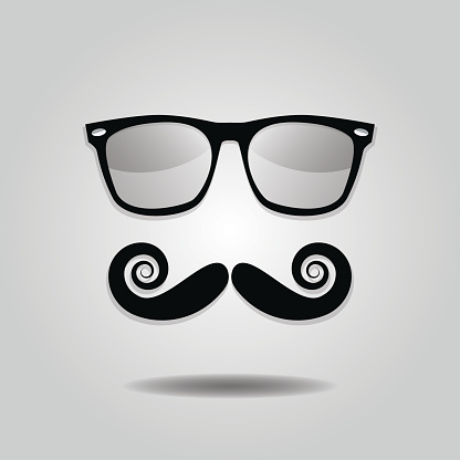 Hipster mustache and sunglasses icons on gray background