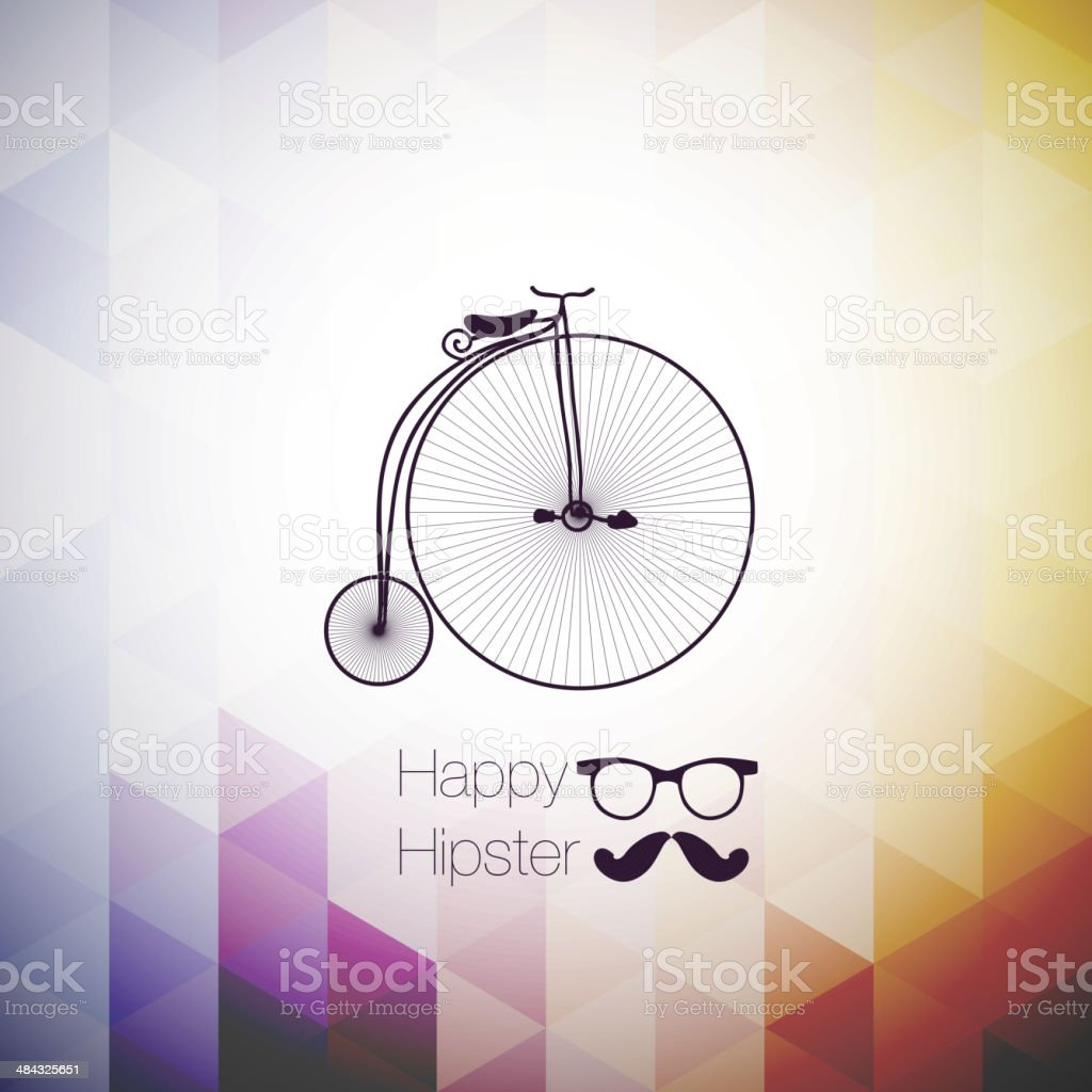 hipster mustag retro bicycle triangle background. vector art illustration