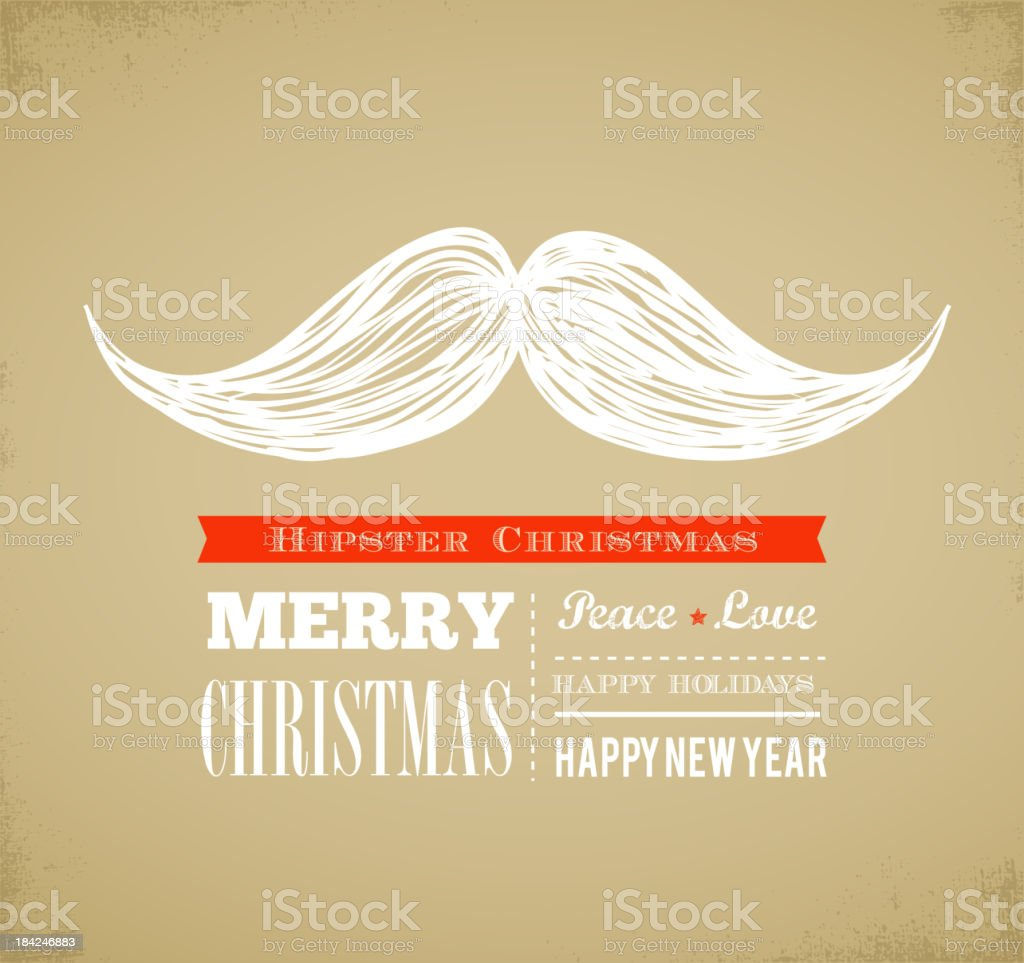 Hipster New Year and merry Christmas vector art illustration