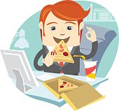 Hipster office man eating pizza at his workplace. Flat style