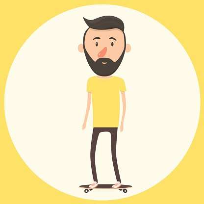 Hipster on longboard. Isolated vector illustration.