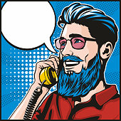 Retro style pop art illustration of a handsome young hipster laughing and talking on an old fashioned telephone.