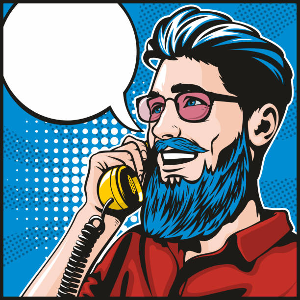 Hipster On The Phone vector art illustration