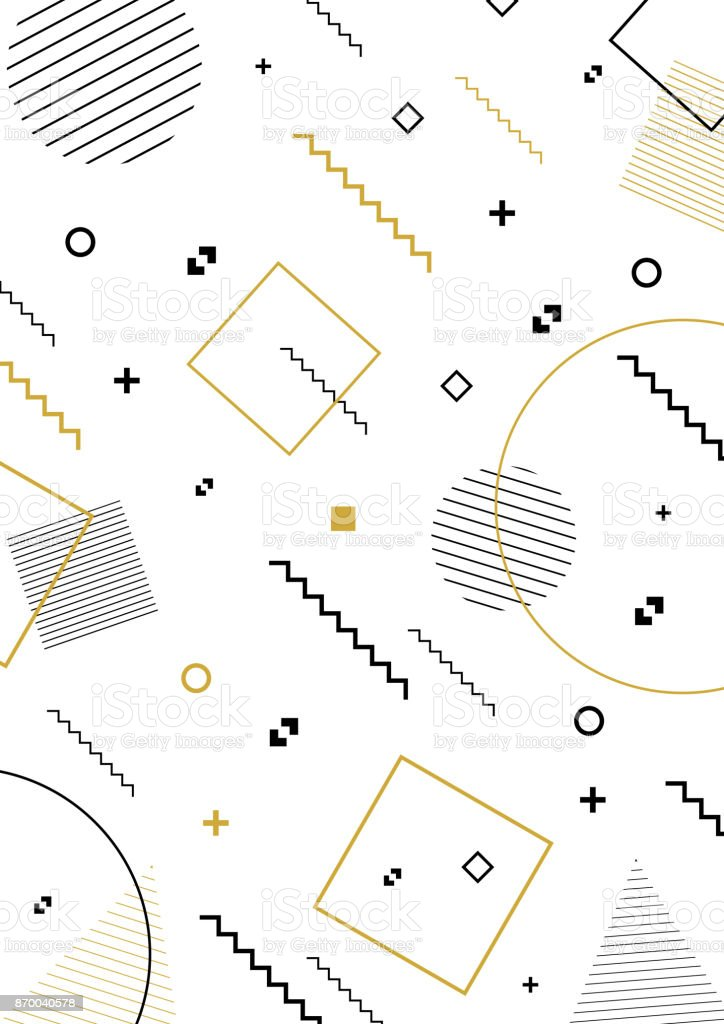 Hipster pattern with geometric shapes vector art illustration