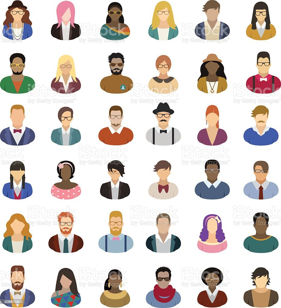 Hipster people – icon set vector art illustration