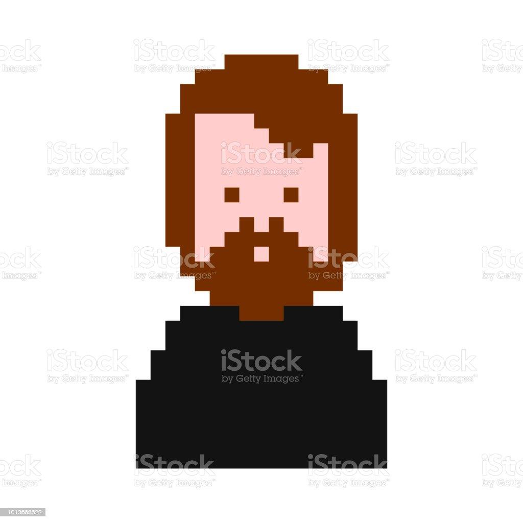 流行に敏感なピクセル アート。男性 8 ビット。男デジタル ベクトル イラスト ベクターアートイラスト