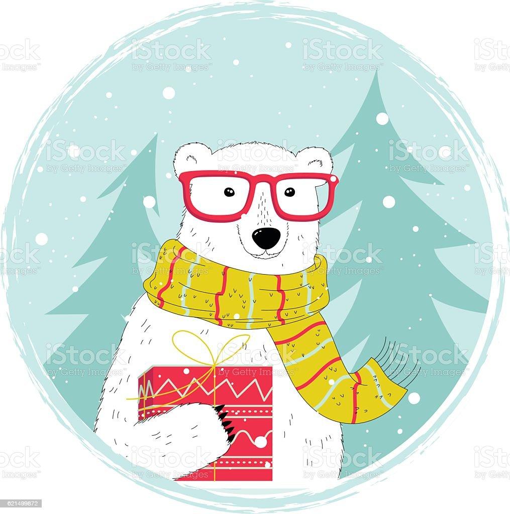 Hipster Ours polaire hipster ours polaire – cliparts vectoriels et plus d'images de affiche libre de droits