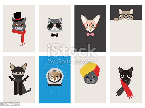 istock hipster, portrait of cat, gentlemen cat 543680786