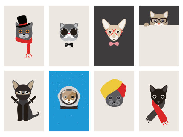 hipster, portrait of cat, gentlemen cat - 힙스터 사람 stock illustrations