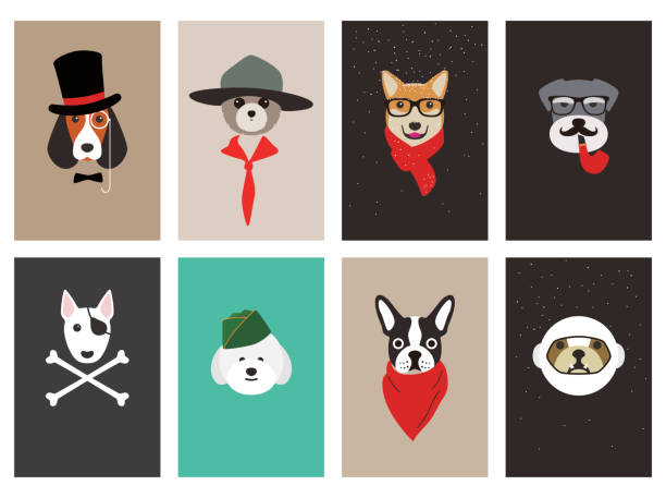 hipster, portrait of dog, gentlemen dog vector art illustration