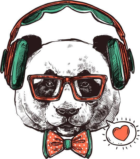 illustrations, cliparts, dessins animés et icônes de panda de portrait de hipster avec des écouteurs - panda