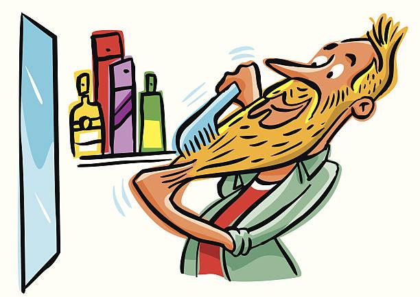 ilustrações de stock, clip art, desenhos animados e ícones de hipster presumível pentear sua longa barba e bigode - puxar cabelos