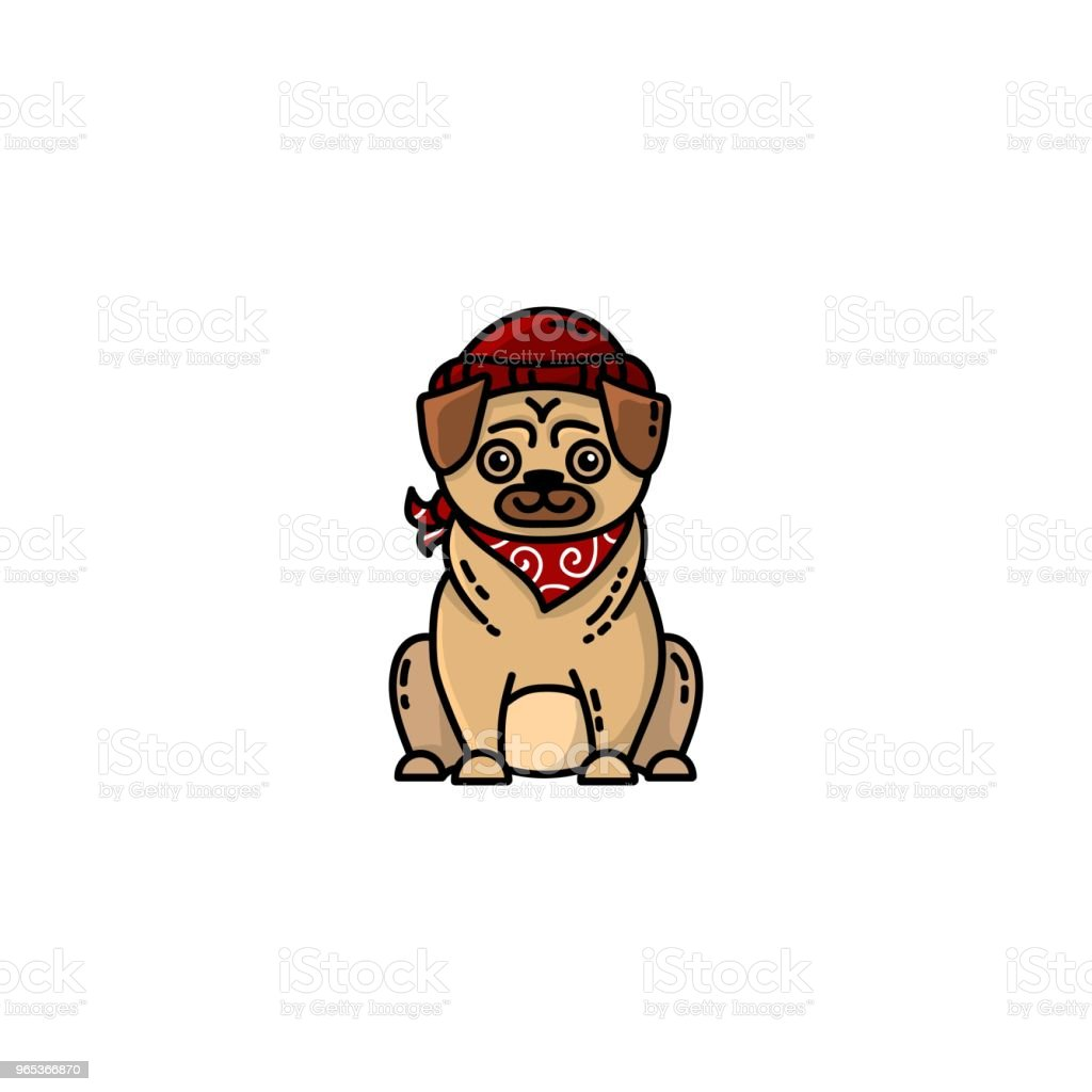 Hipster pug flat icon royalty-free hipster pug flat icon stock vector art & more images of animal