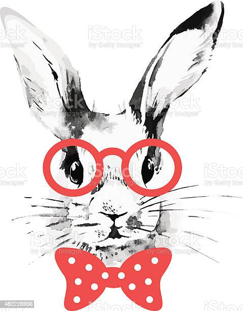 Hipster rabbit hand drawn watercolor sketch portrait vector id482226936?b=1&k=6&m=482226936&s=612x612&h=kj155cjdn2przmtissuudnz4bcus3auwvumwvuljgno=