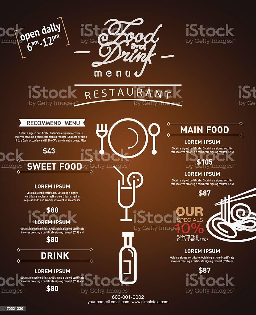 Hipster restaurant menu design website template and