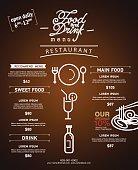 hipster Restaurant menu design. website template and brochure