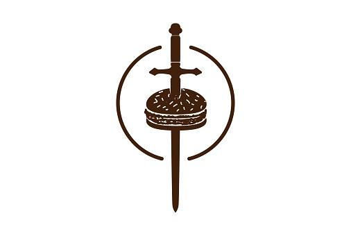 Hipster Retro Burger with Sword Blade for Cafe Restaurant Bistro Logo Design Vector