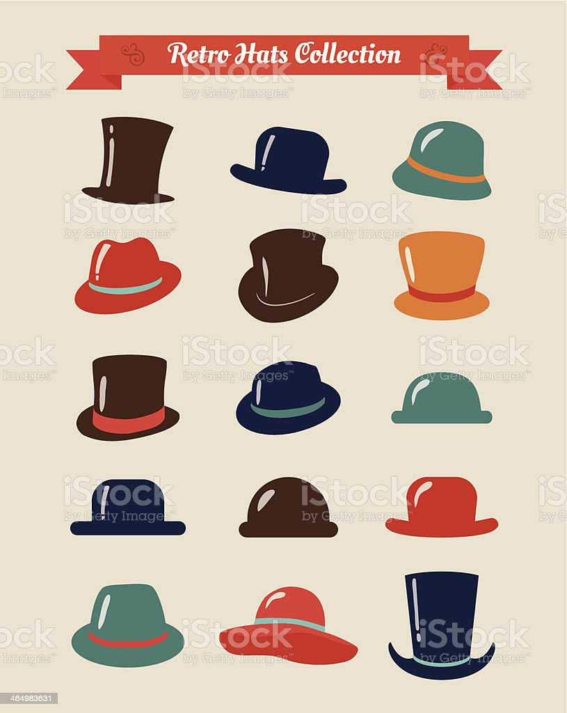 Hipster Retro Hats Vintage Icon Set royalty-free hipster retro hats vintage icon set stock vector art & more images of bowler hat