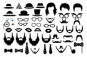hipster retro icon party set vector