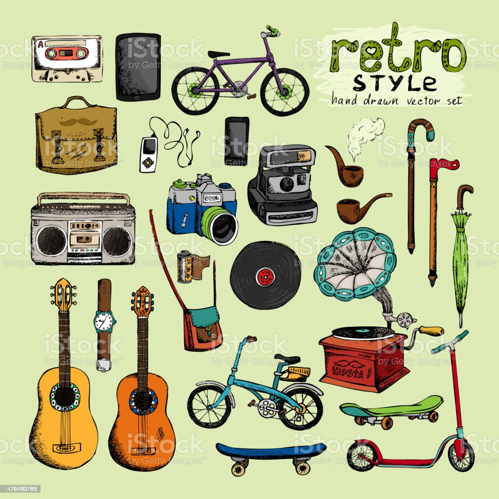 hipster retro style objects vector art illustration