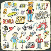 Hipster retro swag colorful set. Hand drawn vector illustration.
