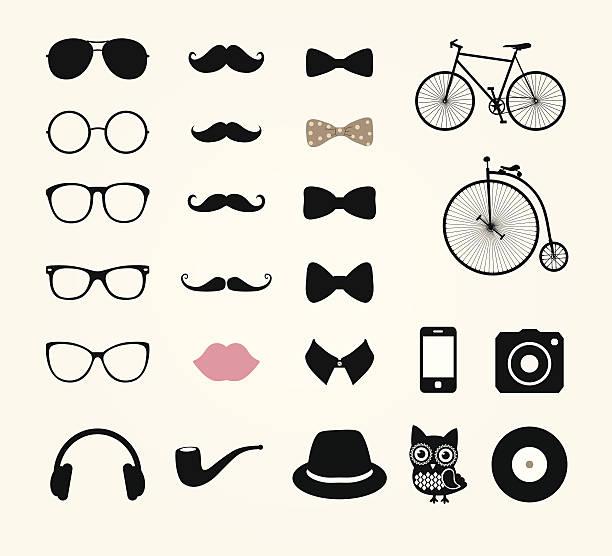 ilustrações, clipart, desenhos animados e ícones de hipster retro vintage conjunto de ícones - bigode