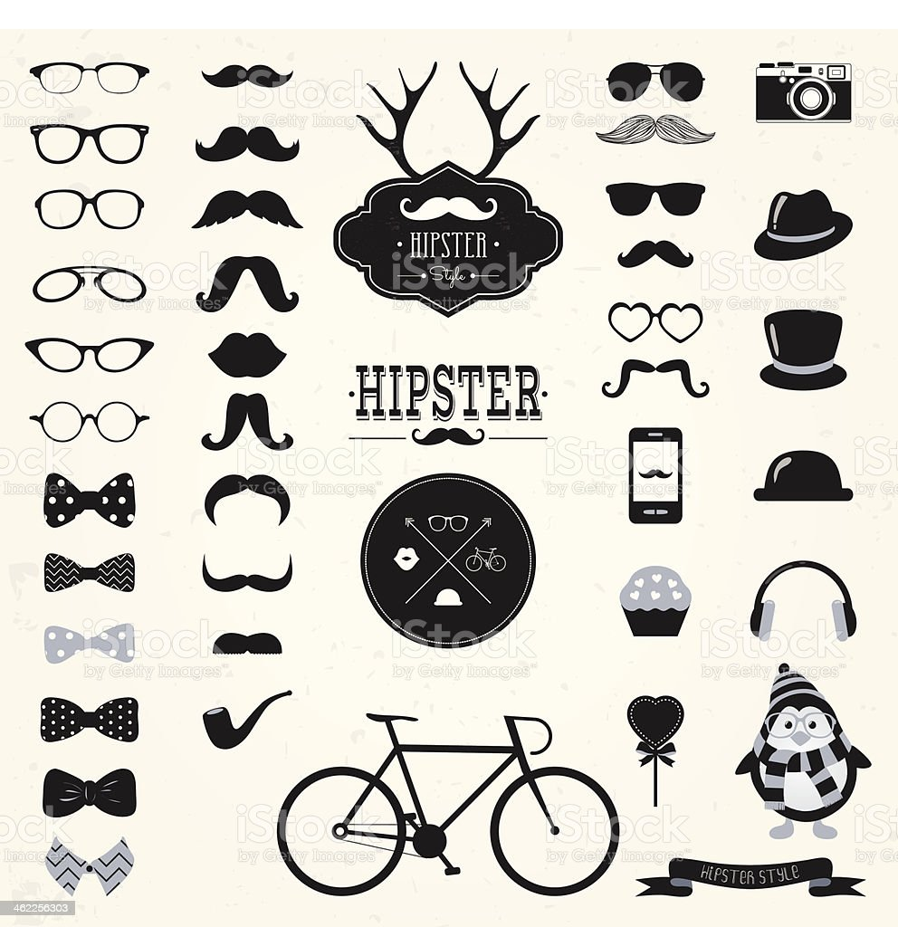 Hipster Retro Vintage Icon Set vector art illustration