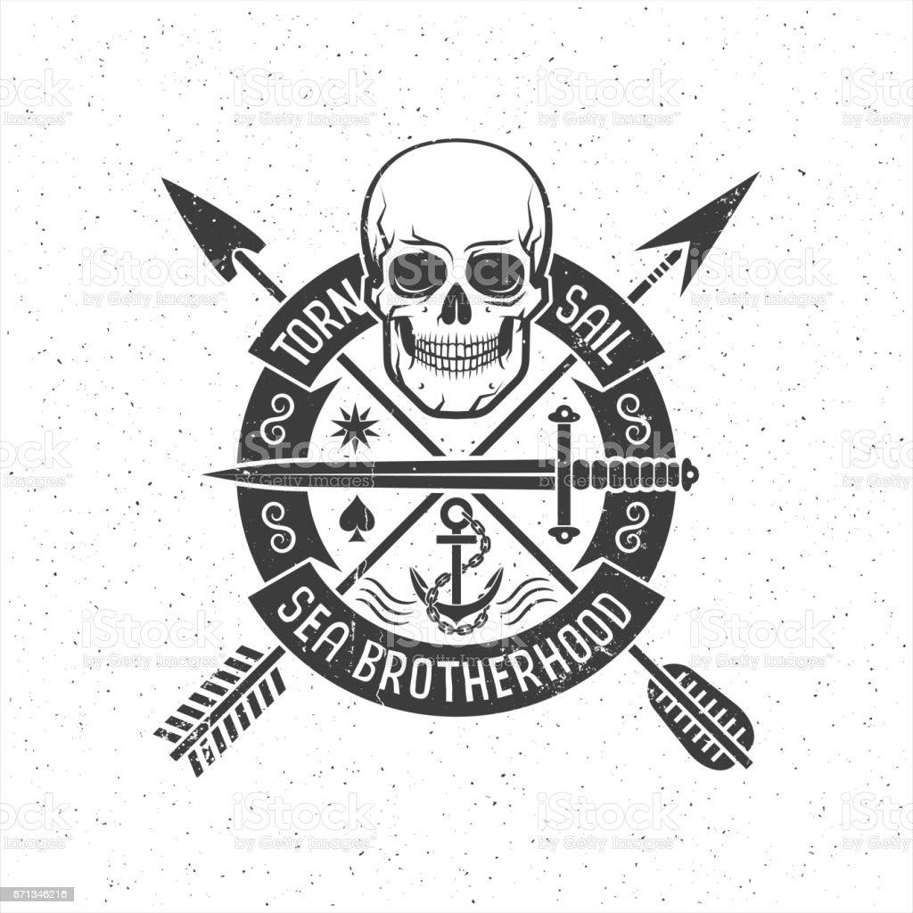 Hipster retro mit einem Piraten-Totenkopf – Vektorgrafik