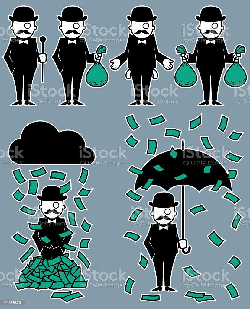 Hipster Rich vector art illustration