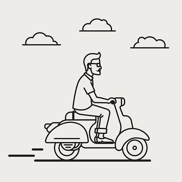 hipster reiten vespa - pastellhosen stock-grafiken, -clipart, -cartoons und -symbole