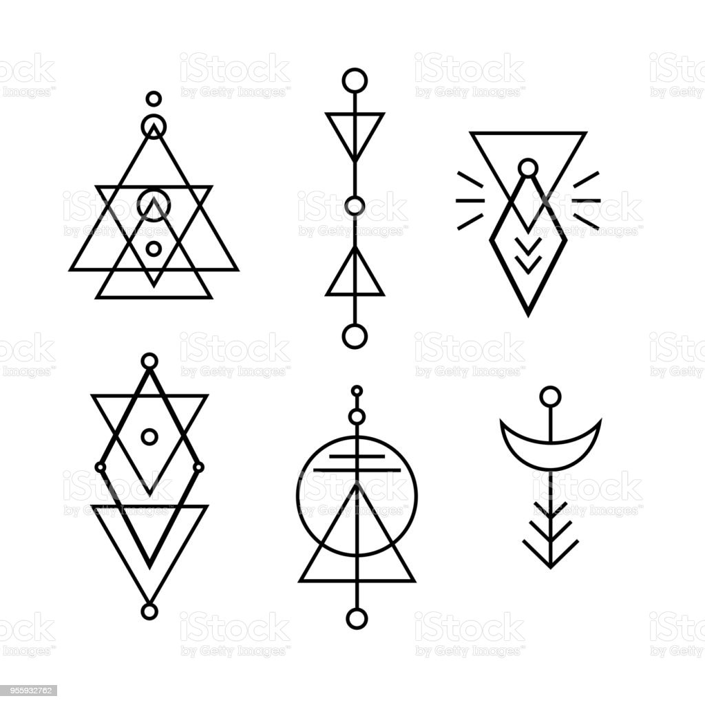 Hipster Sacred Geometric Shapes Vector Set Stock