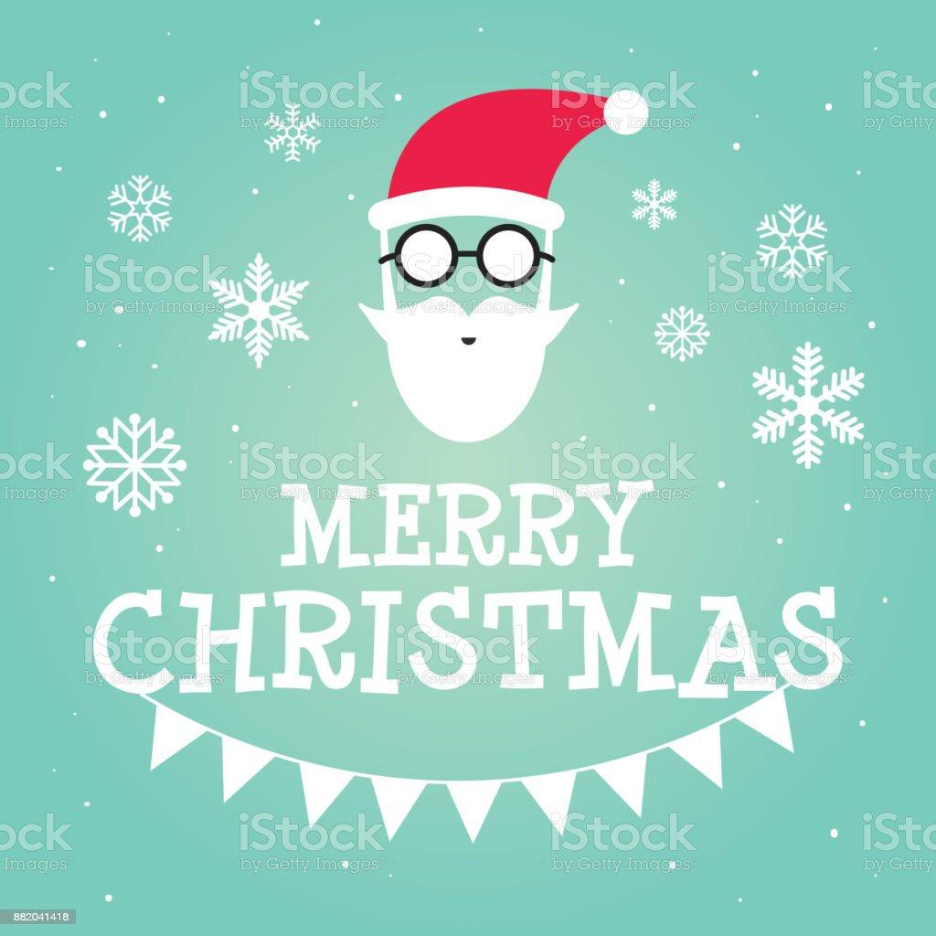 Hipster Santa Claus Carte De Voeux Ou Dinvitation Sur Noel Vector