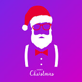 Hipster Santa Claus. Merry Christmas and Happy New Year. Santa with hat, glasses suspenders and bow tie.