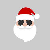 Hipster Santa Claus with cool beard and sunglasses. Merry Christmas card design. Vector flat design