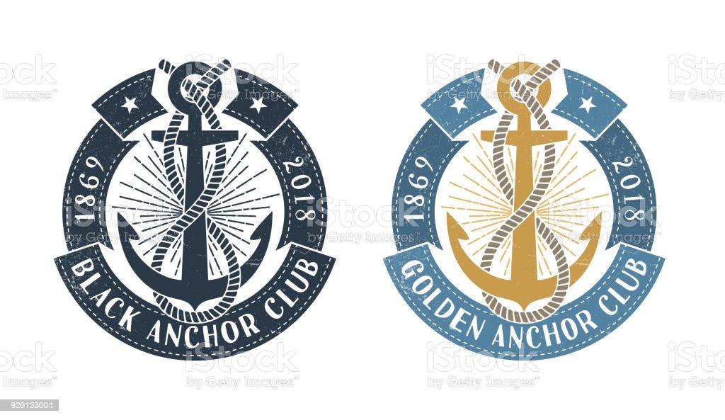 Hipster-Meer-Emblem mit Anker – Vektorgrafik
