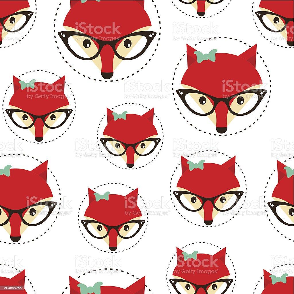 Ilustración de Hipster Patrón Sin Costuras Con Rojo Lady Fox y más ...