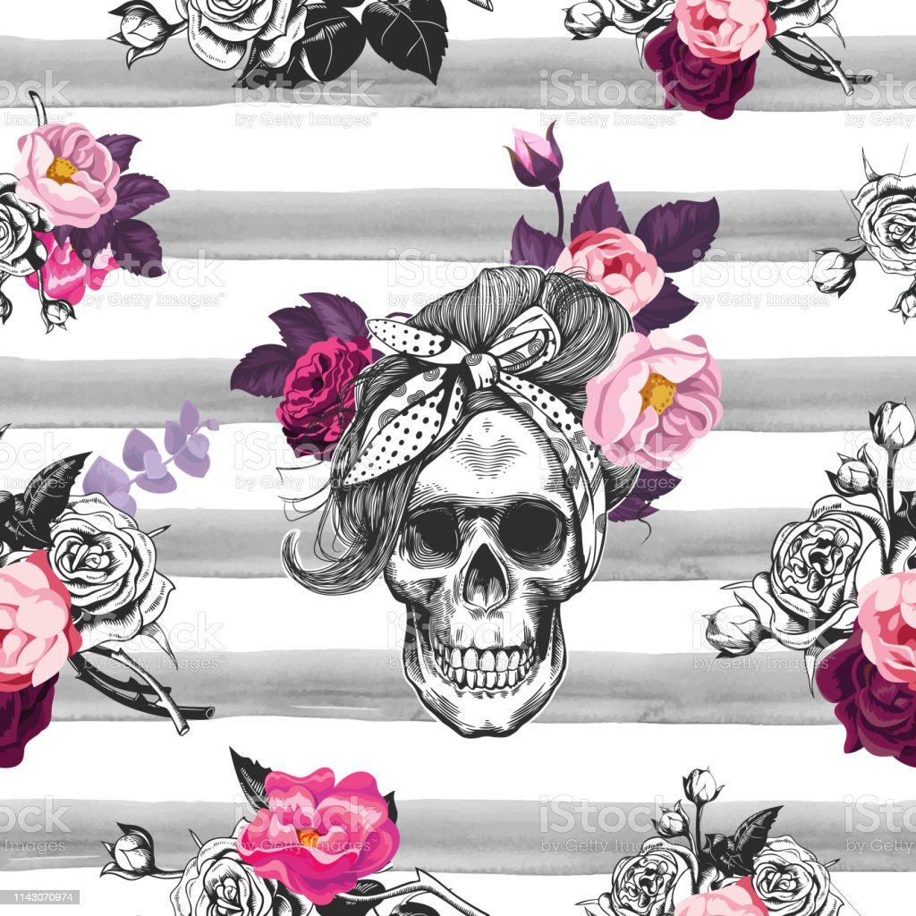 Hipster Seamless Pattern With Skull Silhouettes Flowers Roses And