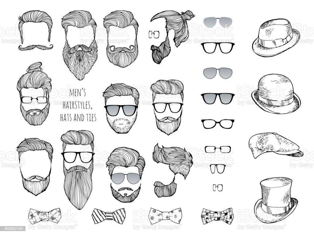 Conjunto de hipster. Barba, óculos, laços e chapéus. - ilustração de arte em vetor