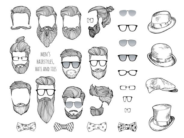stockillustraties, clipart, cartoons en iconen met hipster set. baarden, glazen, strikjes en hoeden. - baard